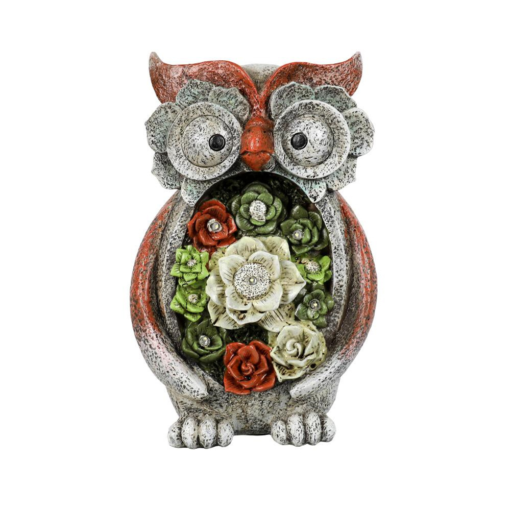 [US Direct] Garden  Statue Owl Figurine With 5 Solar Led Lights For Terrace Lawn Garden Decoration colorful