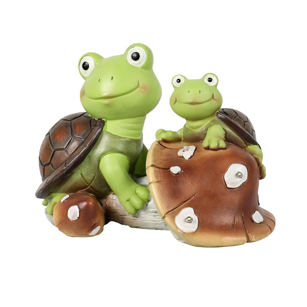 [US Direct] 1 Set Of Garden  Figurines Cute Frog Face Turtle Statue For Terrace Lawn Garden Decoration Green+brown