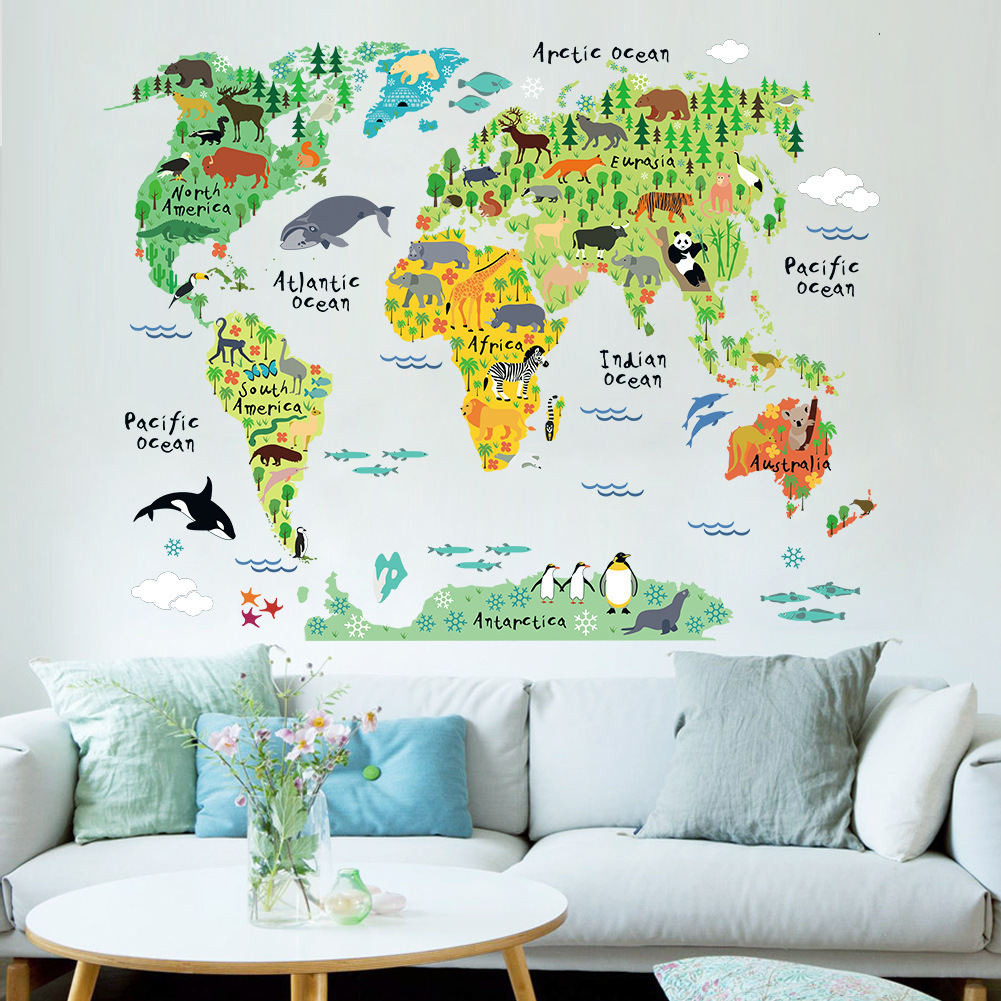 Animal World Map Waterproof Wall Sticker Decal Removable Home Decor For Bedroom Living Room