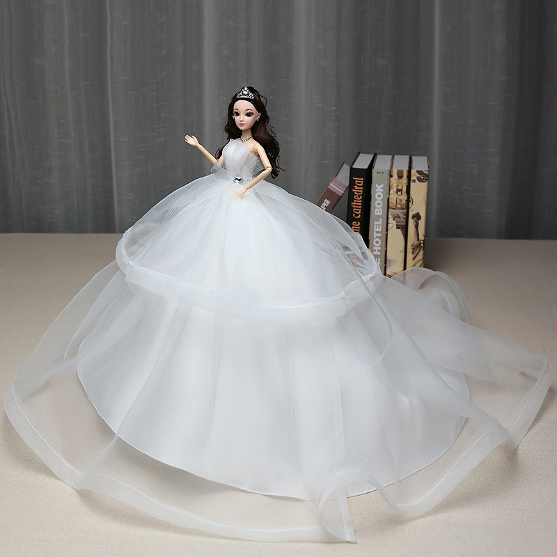 Doll Furnishing Articles doll with Elegant Strapless Princess Dress Wedding Doll Toy