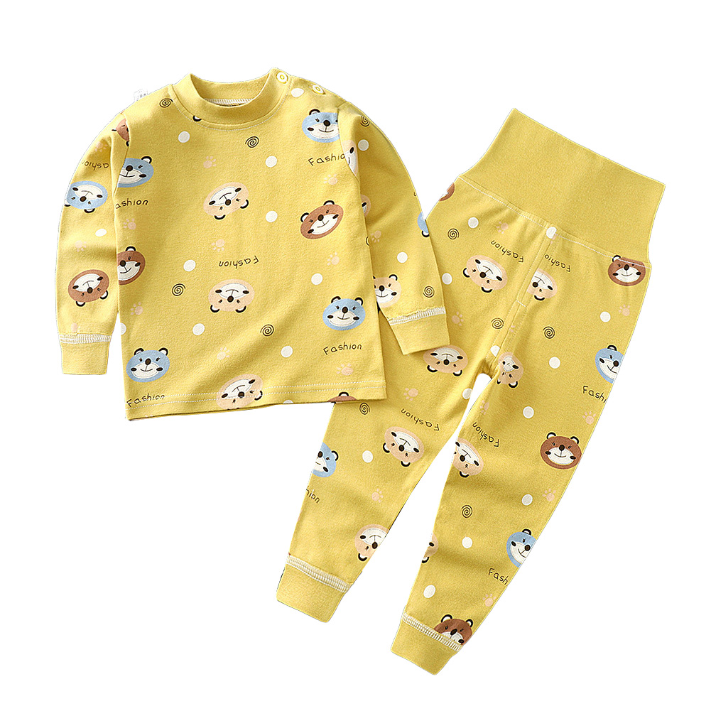 2Pcs/Set Kids Home Wear Cotton Long Sleeve Tops High Waist Pants for Baby Girls Boys Yellow_73
