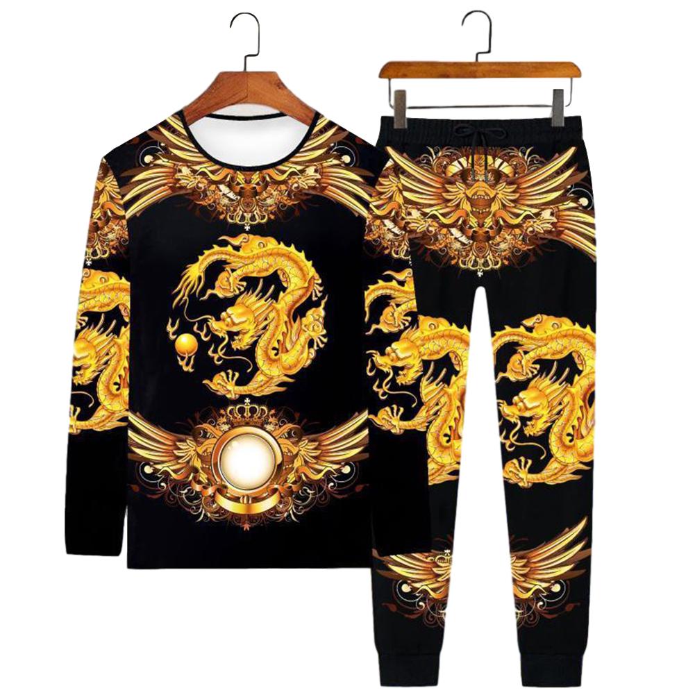 Men's T-shirt Dragon Pattern Round Neck Casual Long-sleeved Shirt Chinese Dragon Long Sleeve#Set_L