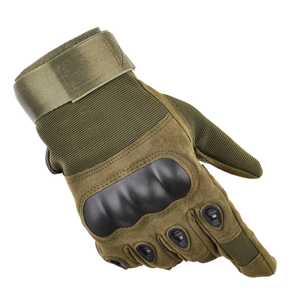 High Quality Men Tactical Gloves Military Paintball Airsoft Outdoor Sports Carbon Hard Knuckle Full Finger Gloves Long finger green_M