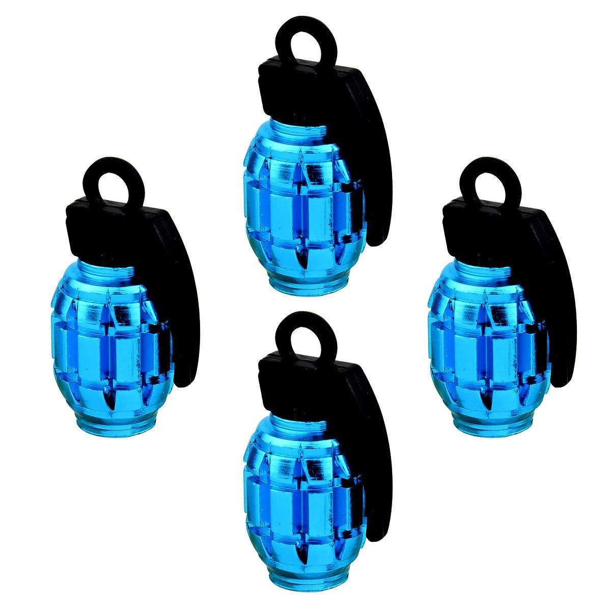 4pcs Universal Wheel Tyre Valve Caps Aluminum Grenade Bomb Shape Bicycle Tire Air Valve Cover for Car Truck Motocycle sky blue
