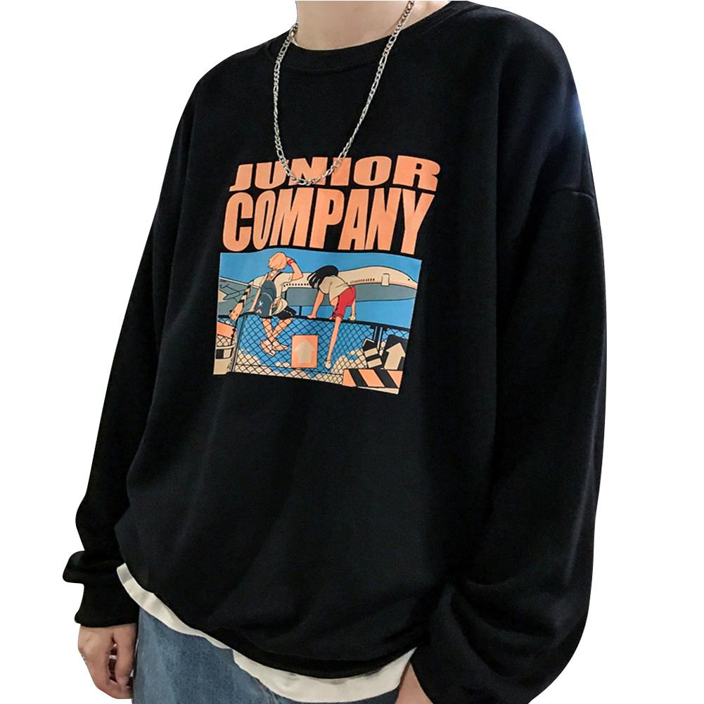 Fashion Students Lovers Round Collar Loose SweatshirtsCcoat black_M
