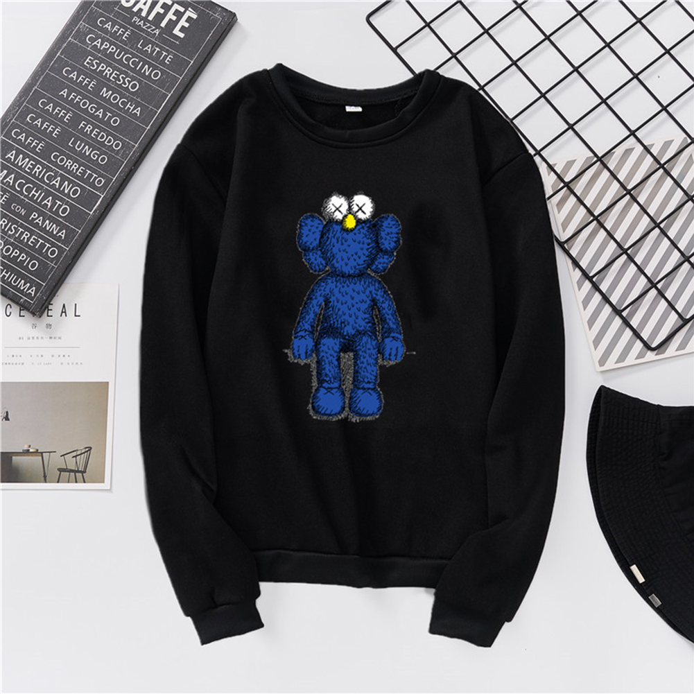 Men Women Fashion Loose Long Sleeve Cartoon Fleece Round Collar Sweatshirts black_M