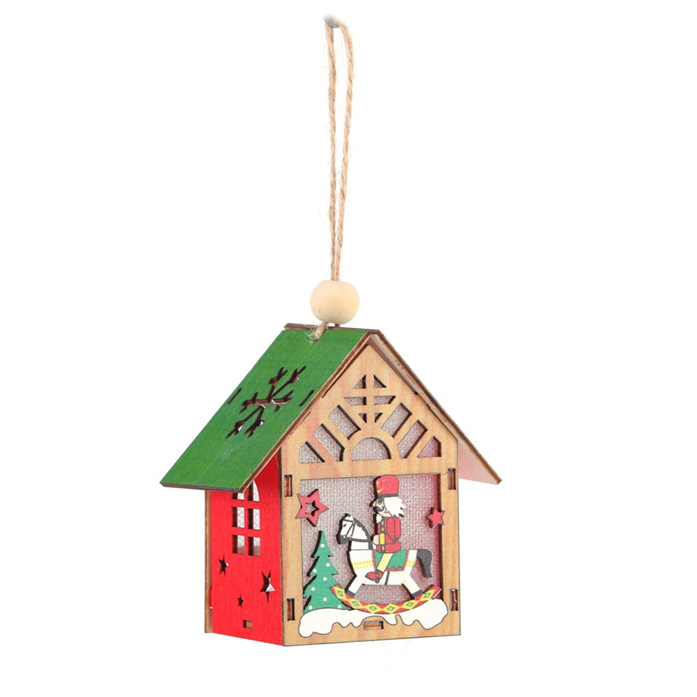 Christmas Luminous Cabin Wooden House Light Home Decoration Hanging Pendant for Kids DIY Crafts A