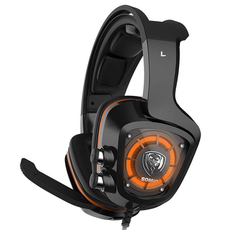 SOMiC G910 virtual 7.1 Gaming earphone headphone with Mic Surround Sound Vibration USB Headset Bass black