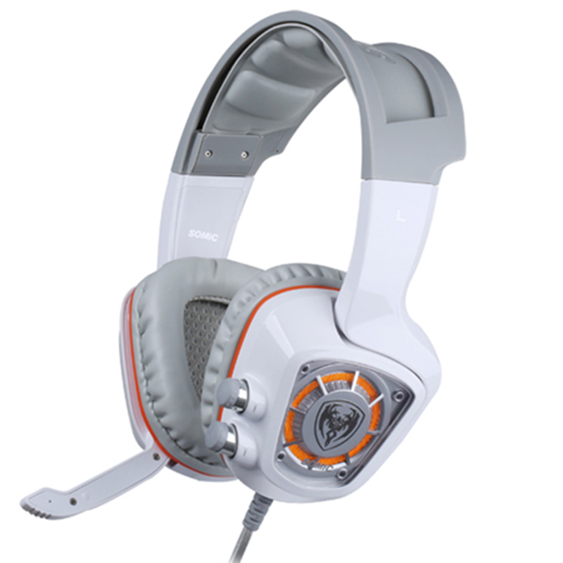 SOMiC G910 virtual 7.1 Gaming earphone headphone with Mic Surround Sound Vibration USB Headset Bass white