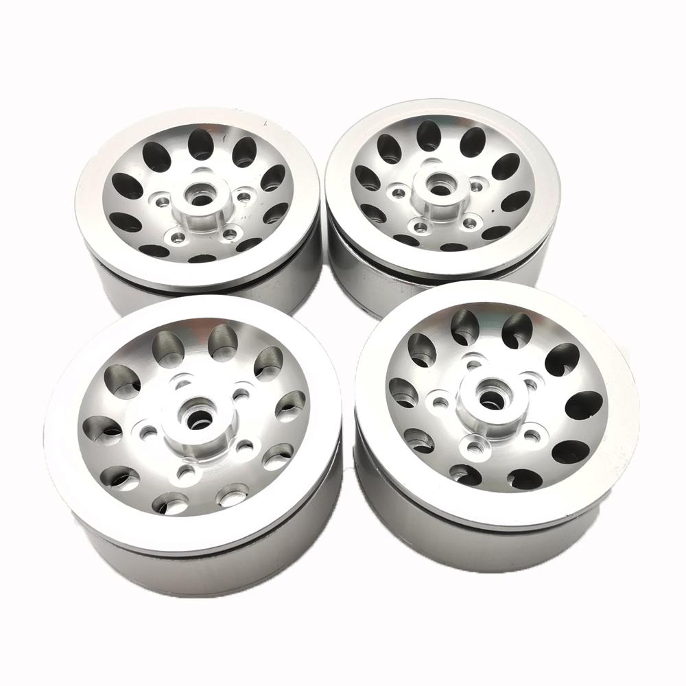 4pcs Mn Model Metal Clamping Pressure Tire Beadlock Wheel Rim & Rubber Tires Set For Wpl 1/16 Mn45 D90 91 96 99 99s 99a 1/12 Rc Car Model Silver_4PCS