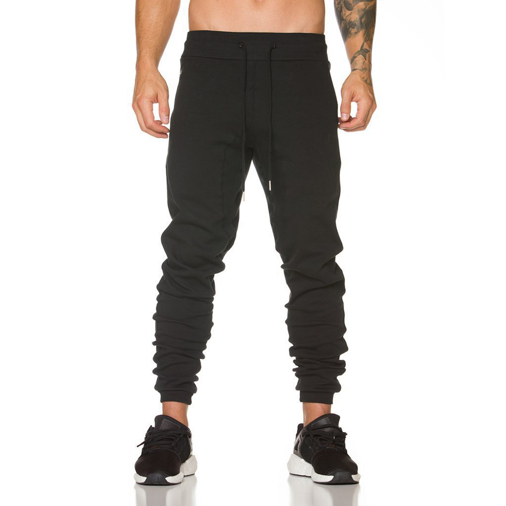 Men Casual Long Pants with Leather Matching Zipper Pocket for Sports