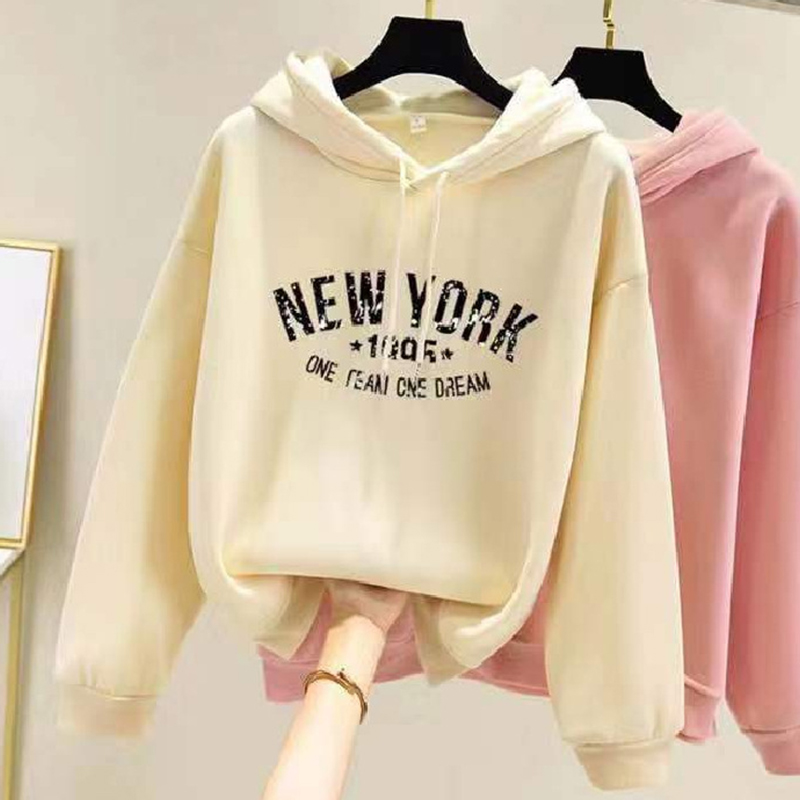 Women Sweatshirts Autumn Winter Loose Hooded Fleece Long Sleeve New York Printing Tops apricot_XL