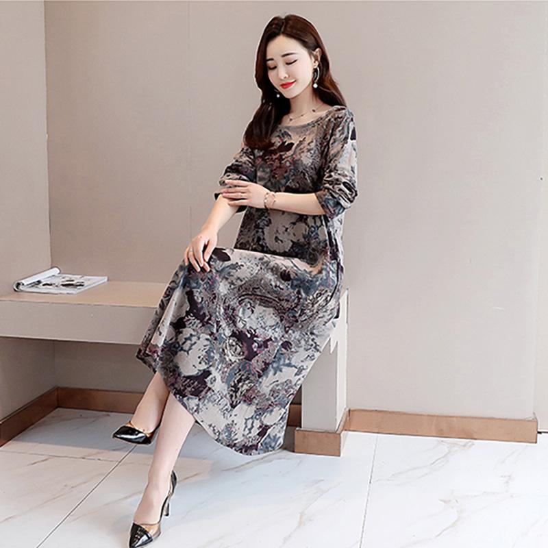 Women Dress Leisure Printing Long Sleeve Loose Waist Dress gray_2XL