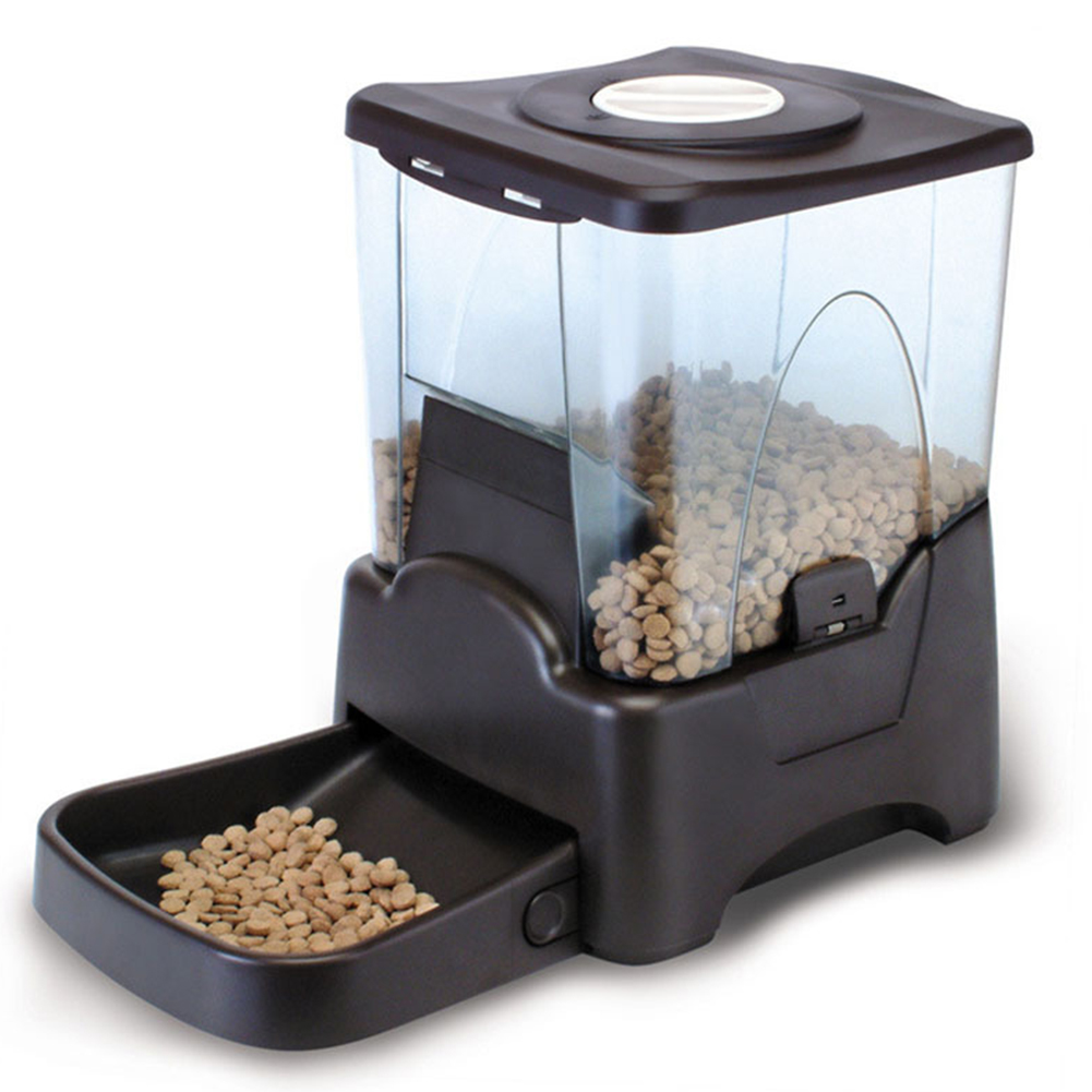 10L Large Capacity Pet Automatic Timing Feeder Recordable Feeding Machine for Dogs black_43*25*36CM