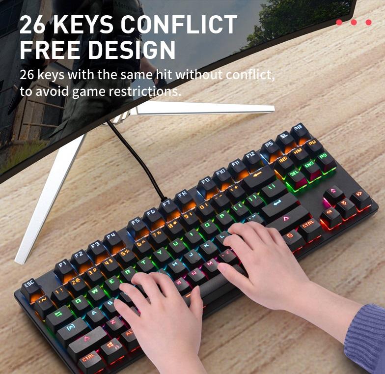 Computer Keyboard Colorful 87-key Gaming Keyboard Office Mechanical Keyboard black