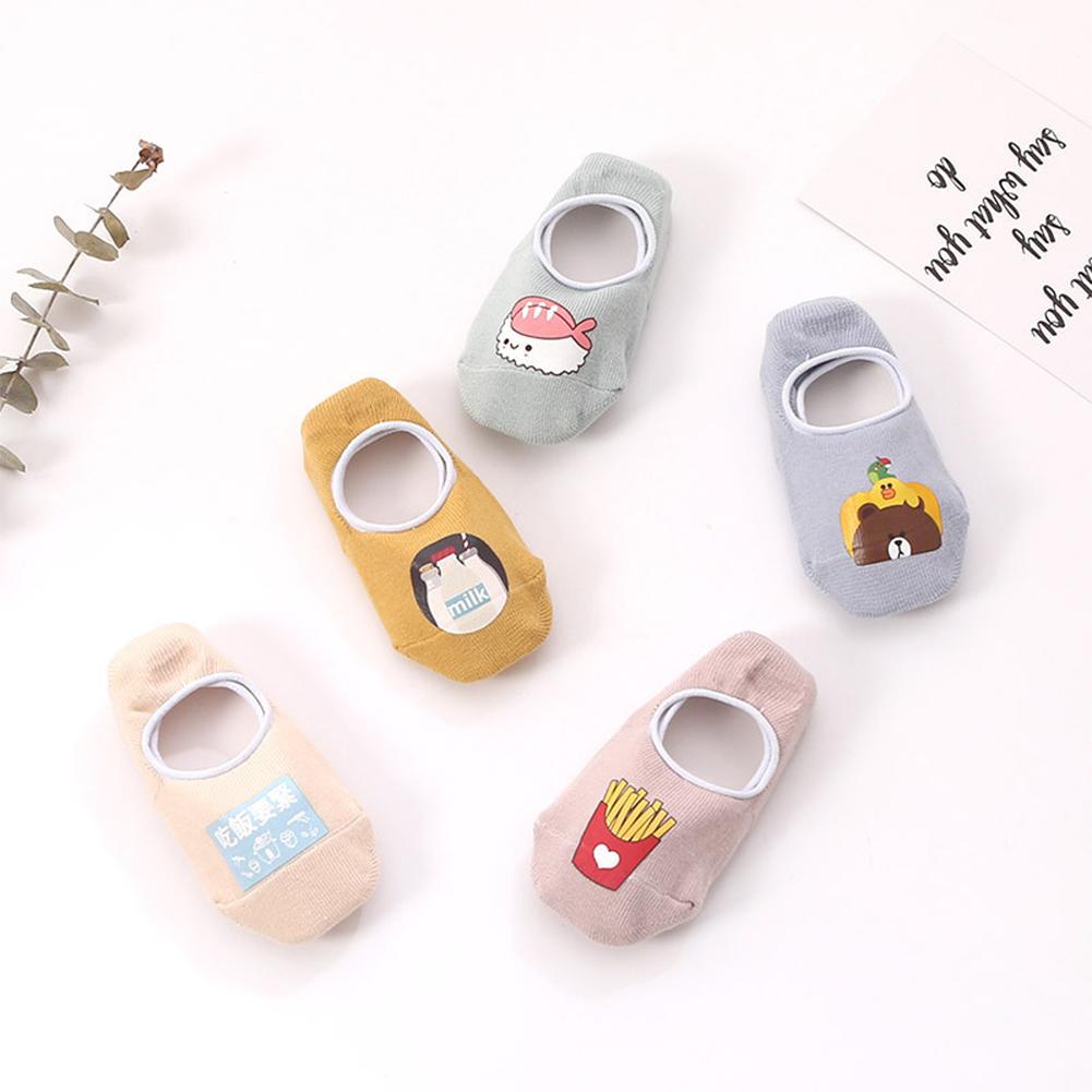 Kids Cute Cartoon Pattern Nonslip Boat Socks Toddler Socks MOQ:5 pairs Foods_ [S : 10-12]