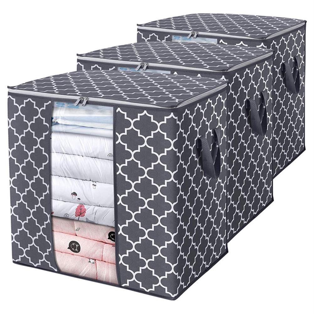 Foldable Storage  Container Quilt Bag Closet Storage Box Dustproof Organizer Gray_52*37*52cm