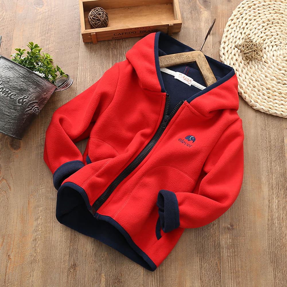 Children Kids Lovely Fleece Long-sleeved Hooded Sweater Coat Tops red_110cm
