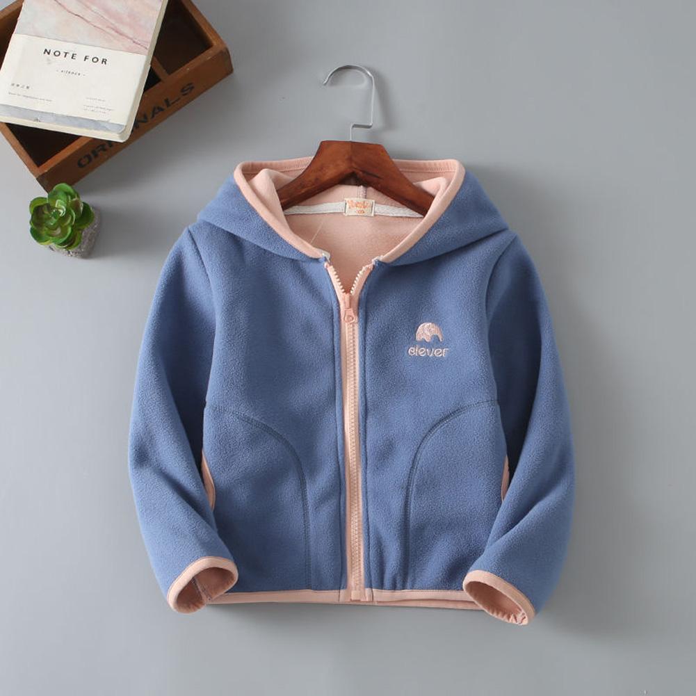 Children Kids Lovely Fleece Long-sleeved Hooded Sweater Coat Tops blue_140cm