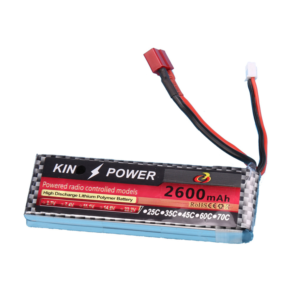 7.4V 2600mAh Lipo Battery T Plug for WLtoys 1/14 144001 RC Car Upgrade Parts default