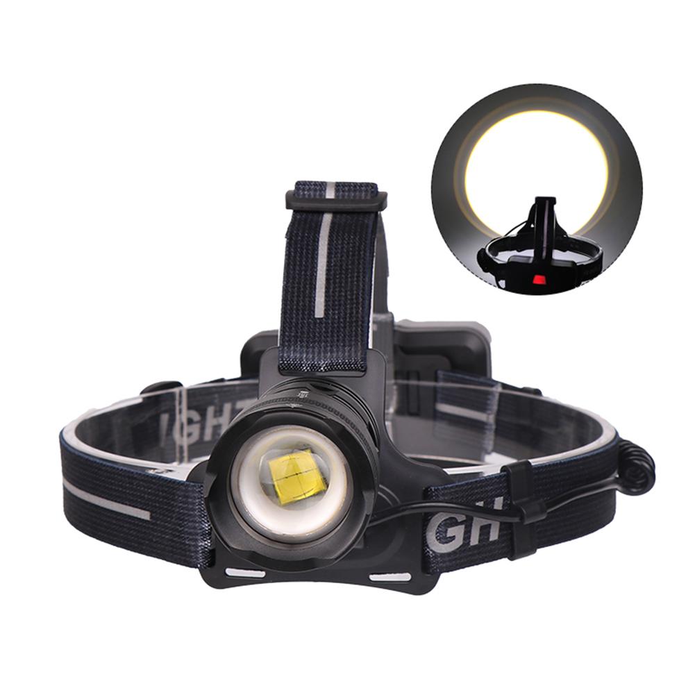 XHP70 USB Charging Strong Light LED Headlight Telescopic Zoom Fishing Light  Positive white light