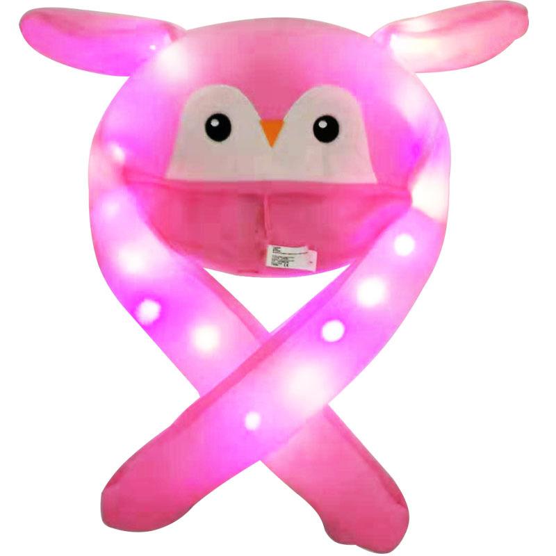 Bright Light Lovely Cartoon Jumping Animal Ears All Matching Hat Air Bladder Cap Penguin pink