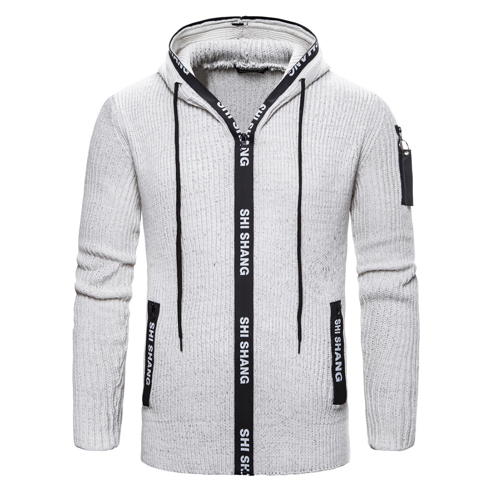 Men Autumn Slim Knit Cardigan Zip Up Hooded Sweater Jacket Coat Tops light grey_XL