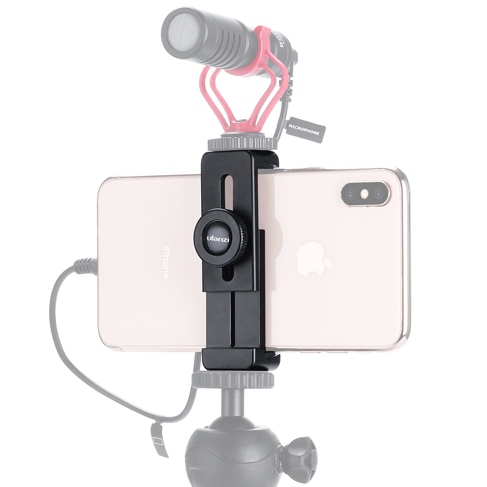 ULANZI ST-02L Smartphone Vlog Phone Mount with Cold Shoe for Microphone Vlogging Phone Stand Holder 1/4 Screw for iPhone Android black