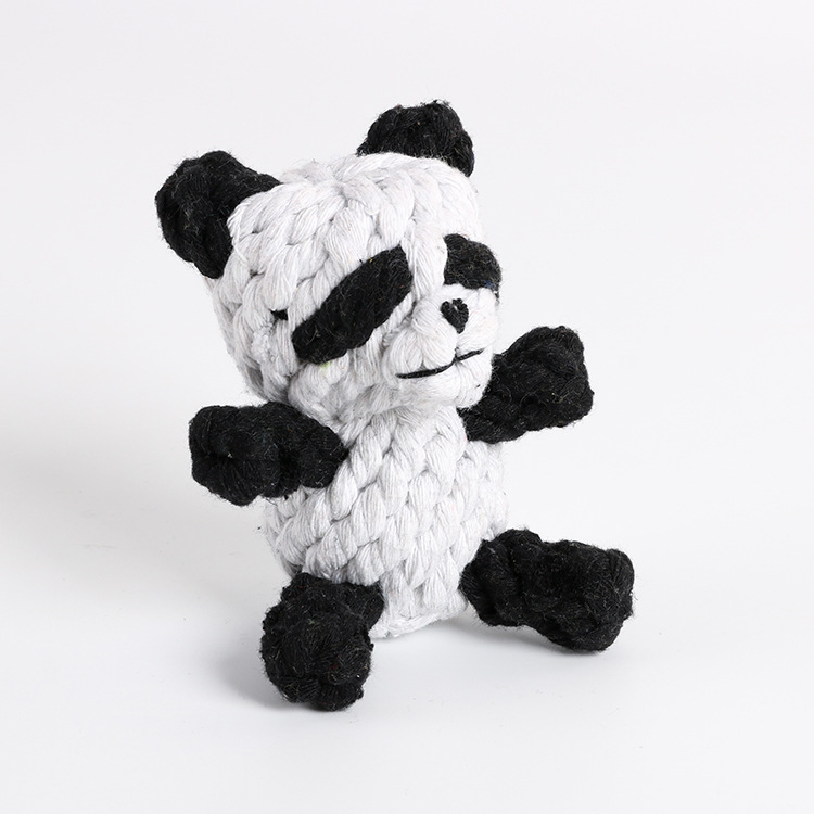 Cute Cartoon Animal Shape Cotton Rope Toy for Small Dog Cats Pet Teeth Cleaning Tool  Panda about 90g