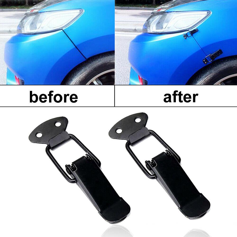 2pcs Universal Car Bumper Auto Mudguard Hatch Lids Quick  Release  Fastener Black Black