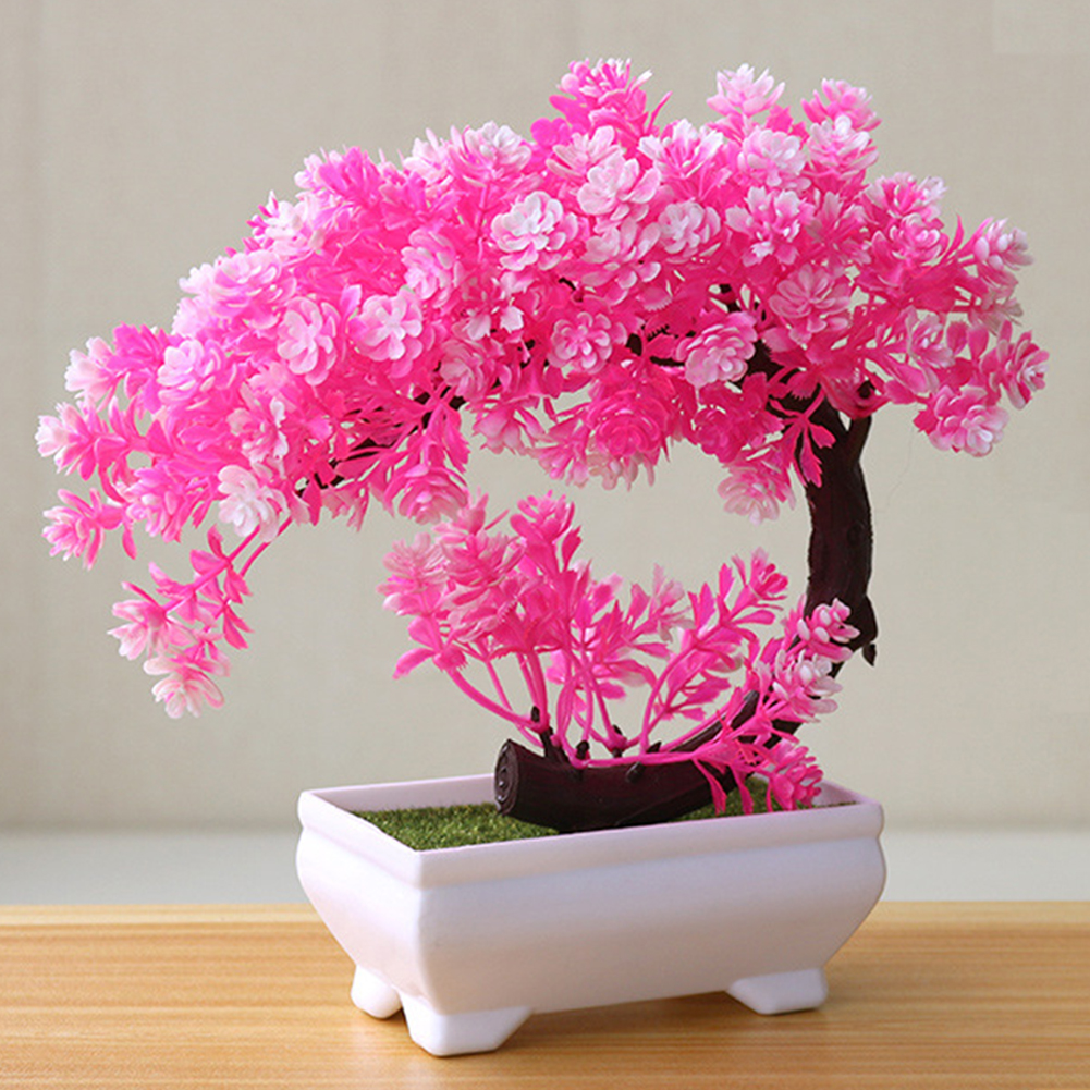 [Indonesia Direct] Artificial Potted Plant for Home Dining-table Office Decoration Pink