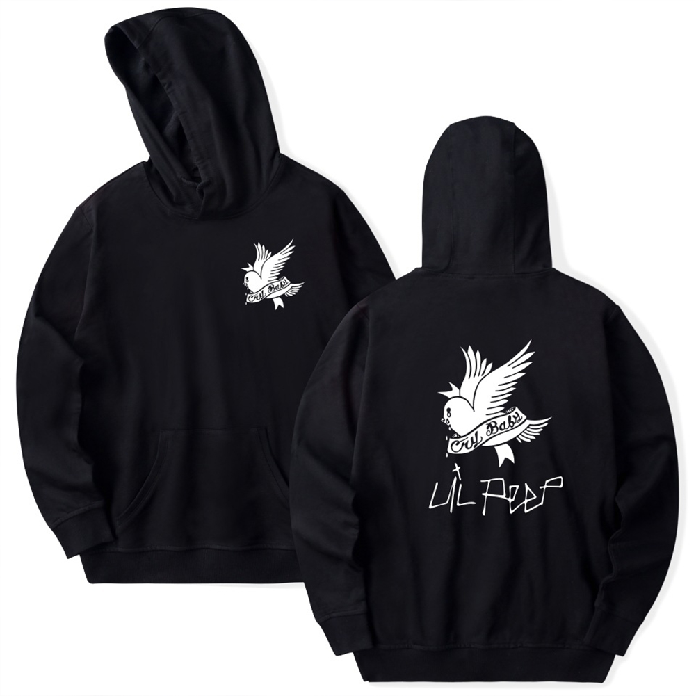 Fashion Lil Peep Series Loose Men Women Hooded Sweatshirt A-4824-WY02-1 black_M