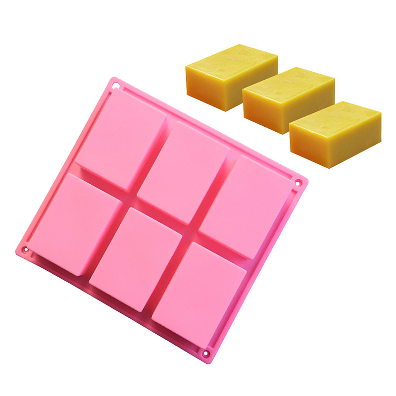 6-cavity Plain Rectangle Craft Soap Mold Silicone Mould for Homemade Cake and Ice Cube