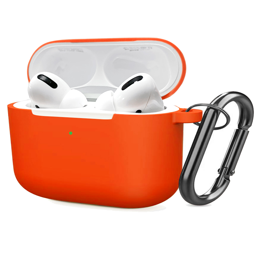 Soft Silicone Case for Airpods Pro Shockproof Hook Protective Bags With Keychain Earbuds Cover Orange