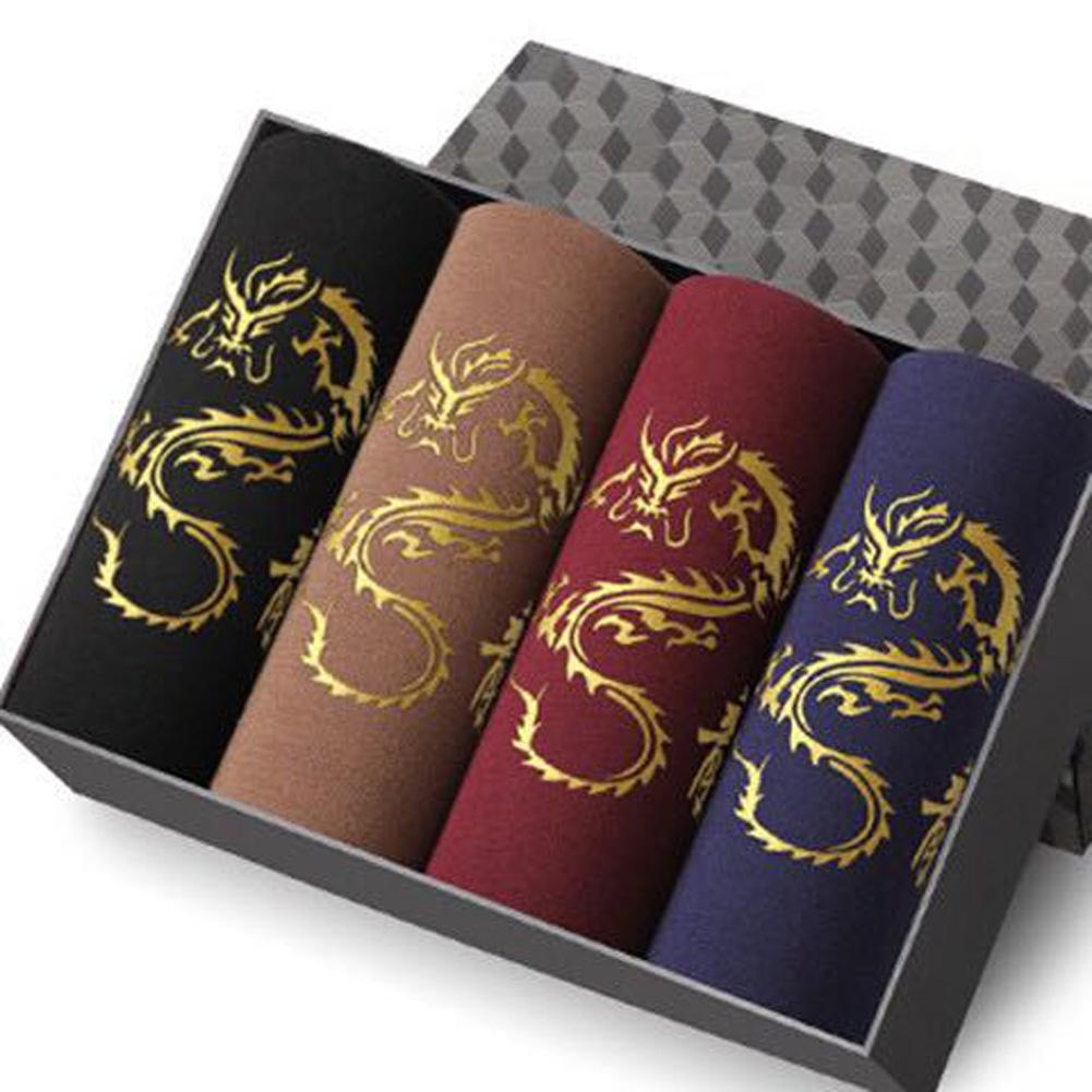 [Indonesia Direct] 4pcs/set Men Middle Waist Breathable U Convex Design Dragon Pattern Boxers 4pcs/set_XL