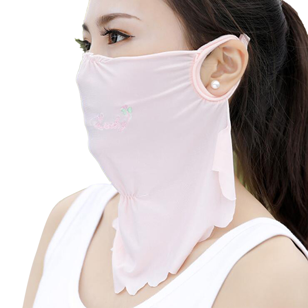 Women's Summer Flower Embroidery Wave Edge Sunscreen Ice Silk Mask Dustproof Mask Solid pink_One size