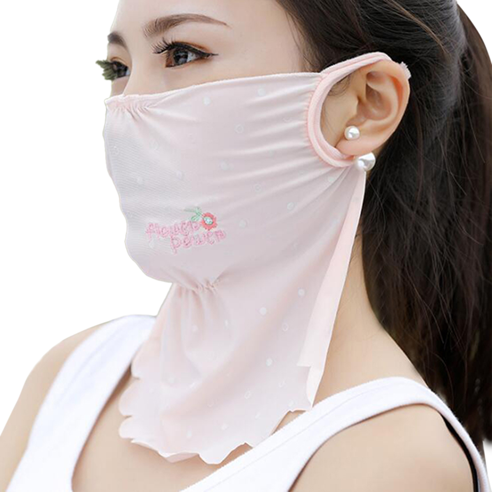 Women's Summer Flower Embroidery Wave Edge Sunscreen Ice Silk Mask Dustproof Mask Polka dot pink_One size