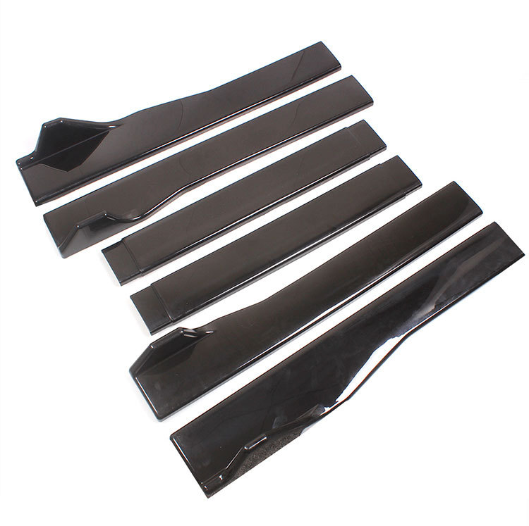 Three-section  Side  Skirt Car Modified Universal Black Abs Side Skirts Length 2.2m/86.6inch Black