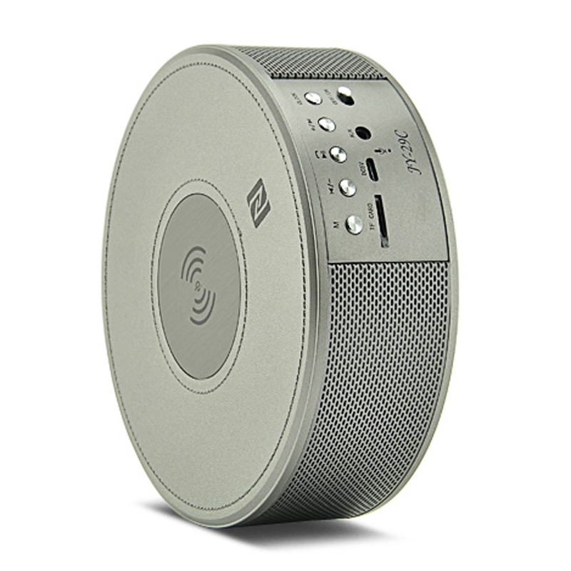 Wireless Bluetooth Speaker - Wireless Charger, NFC, TF Card Slot, FM, AUX In, Clock Alarm, Built-in Microphone (Gray)