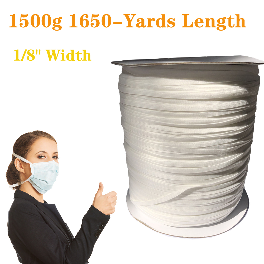 Elastic Cord Sewing Elastic Bands Wide Braided Elastic Rope Spool Elastic String 3mm 1500G 1650 yards