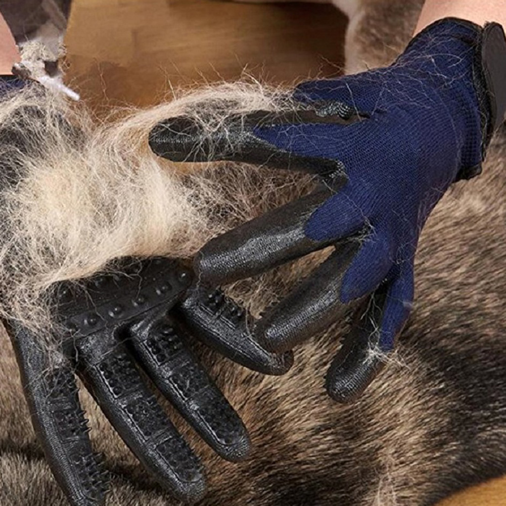 Massage Grooming Glove for Pet Dogs Cats Hair Removing Bathing  10th_blue