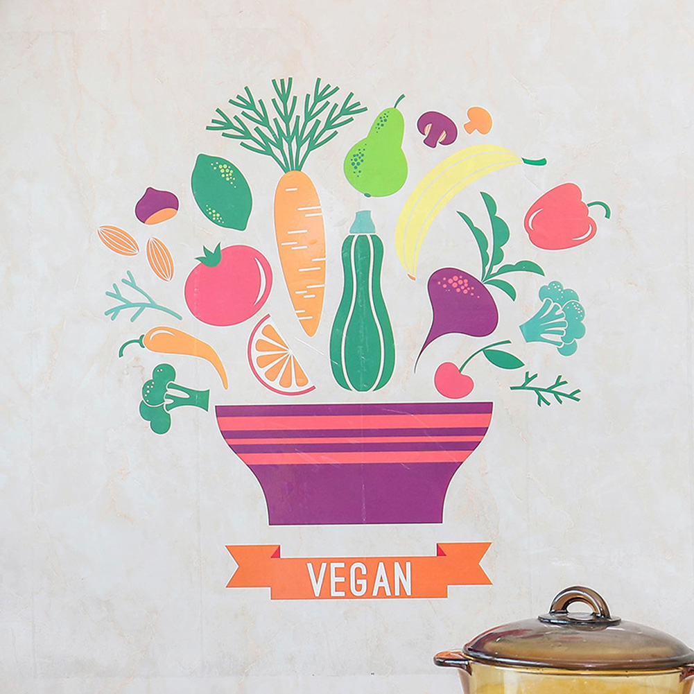 Cartoon Waterproof Wall Sticker Kitchen Self Adhesive Wallpaper for Stove Ceramic Tile fruit and vegetable