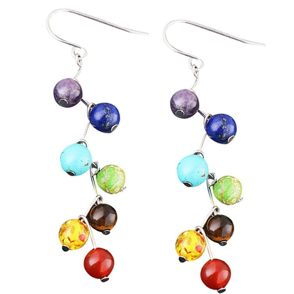 [EU Direct] Women Yoga 7 Chakra Balancing Reiki Earrings Healing Dangle Turquoise Pendant Earrings