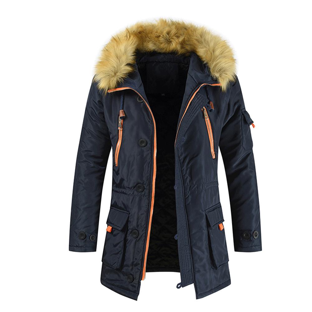 Men's  Coat  Long  Velvet  Fur Collar    Mid-length     Zipper    Padded  Jacket Navy _M