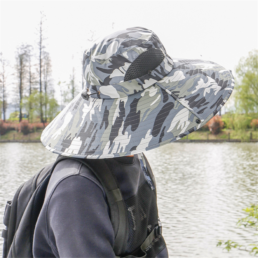 Quick-drying Fabric Fisherman Hat Protection Long Large Wide Brim Mesh Hiking Outdoor Beach Cap Camouflage-blue gray_m-56-58cm
