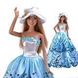 [EU Direct] E-TING Blue Princess Wedding Party Clothes Dress Chrismas Gift doll