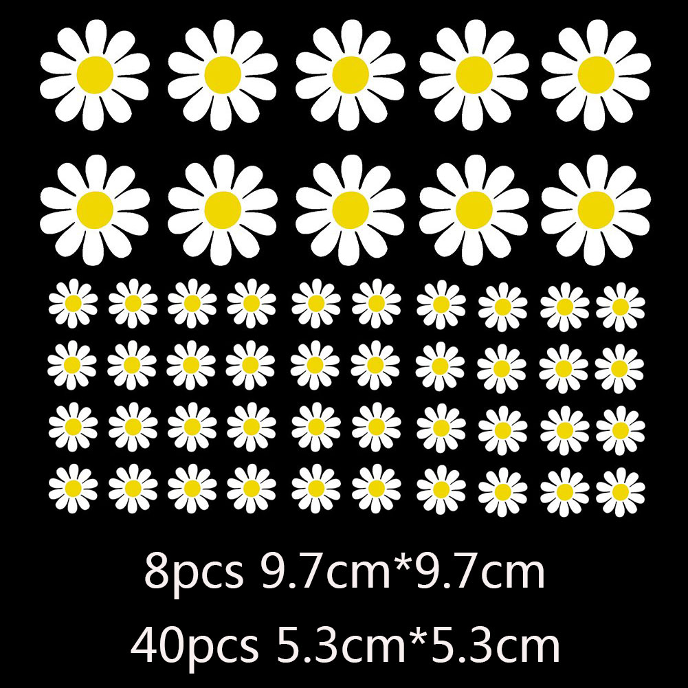 Car Rearview Mirror Window Body Bumper Light Eyebrow Fuel Tank Cap Decal Sticker Scratch Cover Daisy Flower As shown