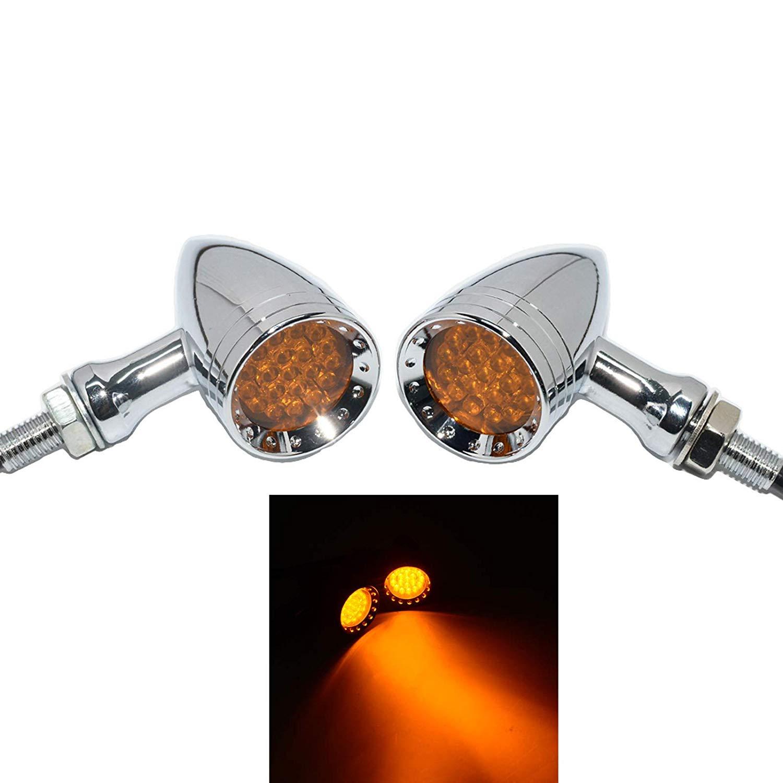 Motorcycle Bullet Shape LED Chrome CNC Turn Signal Light Tail light silver