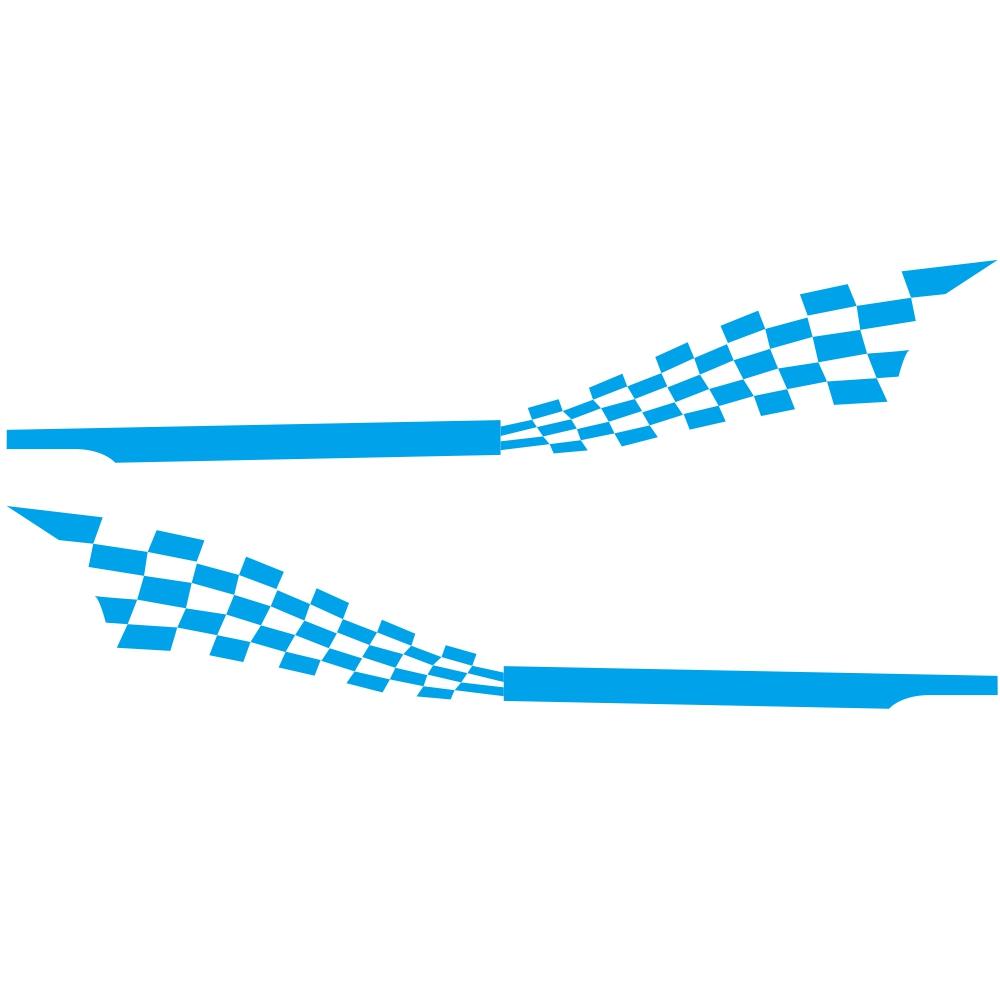 2pcs 215x30cm Both Sides Car DIY Checkered Flag Stickers Racing Stripes Wrap Vinyl Film Car Stickers blue