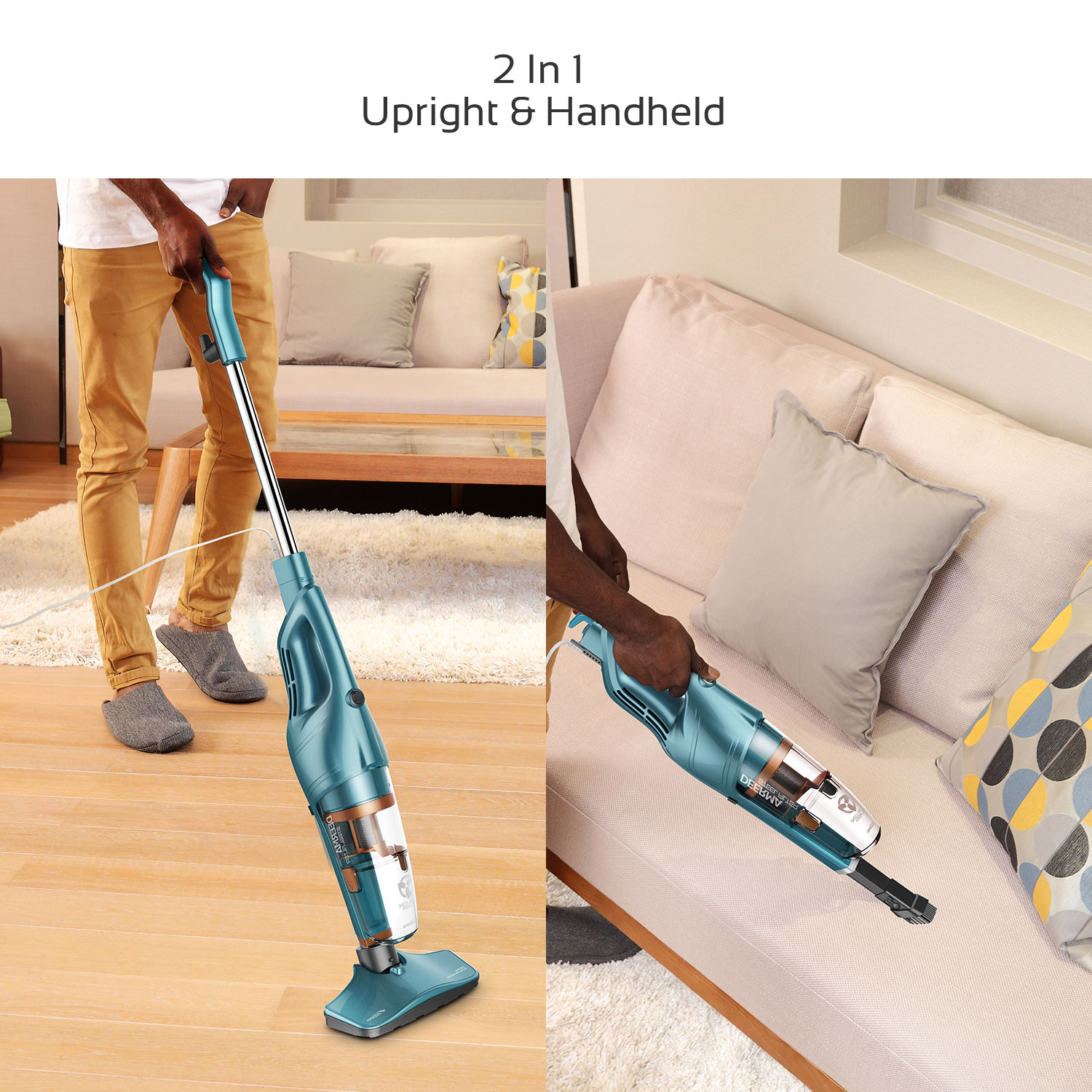 [US Direct] Original DEERMA 2 in 1 Vacuum Cleaner Lightweight Corded Upright Stick and Handheld with Stainless Steel Filter Green